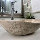 Travertine Stone Sink   Natural Stone Bathroom Vessel Sink   Bathroom Sink   Vanity Sink   Counterto