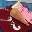PEACH MOONSTONE Pendulum With Moon and Star Charm Healing Crystal Divination Tool Reiki Energy Chakra Healing Stone
