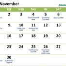 November 2021 Calendar with Holidays US UK Canada Germany etc list