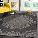 Modern Area Rugs for Indoor Outdoor Medallion - Dark Grey / Light Grey - 5x7