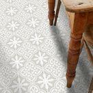 Vinyl Floor Tile Sticker - Floor decals - Carreaux Ciment Encaustic Floc Tile Sticker Pack in Stone Birch