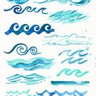 Watercolor ocean waves clipart, summer, beach invitation, Sea Waves, scrapbooking, Nautical Clip Art, personal and commercial use, PNG