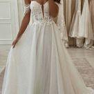 A line Lace Vintage Sparkly Off the shoulder Wedding Dresses WD063