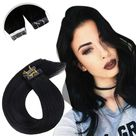 [Remy Hair] Tape in hair Extensions All Pure Color Hairs Black Brown Blonde - Jet Black / 20inch