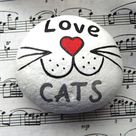 Love Cats Hand Painted Stone, Cat Cheeks and Whiskers, Painted Rock Animals, Stone Keepsake, Stones Charm, Cat Face Hand Painted Rock