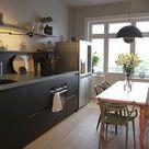 Schwarze Küche mit Granit