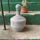 Large Textured Stoneware Vase or Bottle