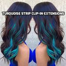 100% Human Hair Bright Turquoise Teal Strip Clip-in extensions streaks 1pc