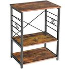 IBUYKE Industrial Printer Stand/Kitchen Shelf, 3-Tier Microwave Oven Stand Baker's Rack with Metal Frame and 6 Hooks, Utility Standing Storage Shelf for Coffee Bar, Simple Assembly GL-TMJ022H - Rustic Brown, Black