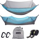 Cammouer Camping Hammock for Trees Portable Hammock with Net Parachute Fabric Travel Bed for Hiking Camping - Grey+light Blue