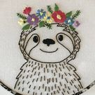 Hand Embroidery PDF Pattern. Floral Crown Sloth Design Digital   Etsy
