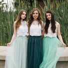 Boho Green Grey Palette Bridesmaid Separates  Pistachio/Green Grey/Herbal Green Waterfall Tulle Skirt and Allure Lace Tops Plus Size