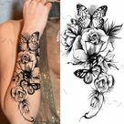Black Large Snake Flower Fake Tattoo Sticker For Women Dot Rose Peony Temporary Tattoos DIY Water Transfer Tatoos Girls - GFF101