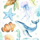 Unter dem Meer Aquarell Clipart Kinderzimmer-Drucke | Etsy