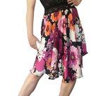 Charmeuse Flowy Tango Skirt, Circle Tango Skirt, Mauve & Orange Floral