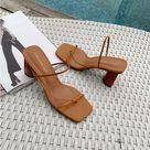 Square Toe Wood Heel Sandal