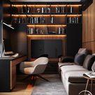 Home Office | Einbauregal mit Beleuchtung | Dunkle Einrichtung
