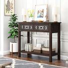 "Red Barrel Studio® 30""H Console Table w/ Open Shelf Wood in Brown, Size 30.0 H x 35.4 W x 12.6 D in | Wayfair"