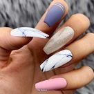 Black White Marble Gold Foil Leaf/Studs Press On Nails |Any Shape | Fake Nails | False Nails | Glue On Nails