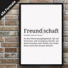 Definition Freundschaft   Format wählbar   Premium Spruch Poster für Küche Wohnzimmer oder WG   Kunstdruck für den Bilderrahmen