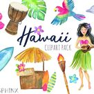 Watercolor Hawaii Clipart - Tropical Island - Summer Clipart - Luau, Aloha, Tiki,  Printable Digital Scrapbook Clip Art
