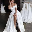 Simple A Line Off The Shoulder Wedding Dress  Minimalist   Etsy