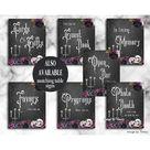 Black Wedding Invitation, Till Death Do Us Part. Chandelier, Skull, Purple And Black Roses