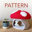 PATTERN: Mini/Mega Mushroom Crochet Pet Cave/Hide/House/Bed Pattern for Hedgehog/Rat/Ferret/Guinea Pig/Cat/Small Dog