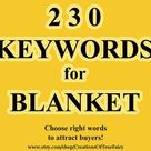 Keywords for BLANKET Main and long tail most popular key words for titles taggs Top keywords Search