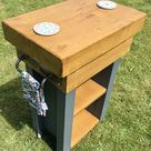Autumn Sale The Oxford Solid OAK Railway Sleeper Hand Made Country Farrow & Ball Grey Painted Compact Kitchen Island Table