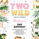 Two Wild 2nd Birthday Party Invitations with Cute Jungle Safari Animals
