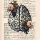 Brain Art Print on 1900 vintage page botanical flowers posters drawing Human Anatomy Illustration wall art Halloween get well gift drawing