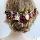 Burgundy Headpiece Floral Hair Piece Burgundy and Silver | Etsy