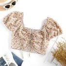 ZAFUL Ditsy Floral Lace-up Smocked Milkmaid Blouse L Light coffee