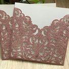 Laser Cut Invite Covers Pocket Invitation Cards Laser Cut Wedding Invitations Cards Bridal Shower Party Invitations Cards Laser Cut Invitation Cards Baby Shower Invitations Cards,Glitter Pink 50pcs