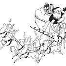 Wandtattoo Nachbildungfolie Weihnachtsmann mit Schlitten WD0813 -  verschiedene Farben und Größen zur Wahl Color - schwarz Größe - 120cm