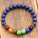 Lapis Lazuli Stone 7 Chakra Bracelet