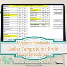 Handmade at Amazon Seller Template, Amazon Profit Excel Spreadsheet, Sales and Profit calculations excel