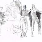 Vintage original 1980s 1990s large ink drawing of people by illustrator Salim Patel