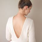 Wedding sweater CHILLY knitted in a soft lace pattern with extra big V-Neck - 14/16 / cream / Cashmere