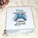 Blue Boys Gamer Gaming Remote Control white box with a tie front bow Christmas Eve Keepsake Box personalised 22x22.5x6.5cm