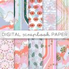 Pastel Painterly Print Digital Scrapbook Paper Abstract Lips Stars Retro Leaves Texture Prints Hand Drawn Brush Stroke Art Paint Background