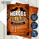 INSTANT ACCESS   Halloween   Heroes vs Villains Invitation   Printable   DIY