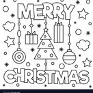 Merry christmas coloring page vector image on VectorStock