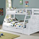 Julian White Twin Over Full Staircase Bunk Bed with Trundle