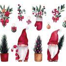 Weihnachts  Und Neujahrsaquarell Mit Niedlichen Gnomen Und Kiefern