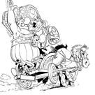 Asterix And Obelix Ride Horse Carriage In The Adventure Of Asterix Coloring Page
