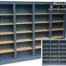 Handcrafted Solid Wood Bookcase 6ft x 8ft, Painted Custom Bookcase Adjustable Multi Display Shelving