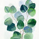 Eucalyptus Printable Wall Art, Sage Green Leaves Instant Digital Download Print, Modern Botanical Watercolor Painting