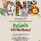 Jungle 1st Birthday Party Invitation Template - Jungle Animals - ONE - Safari - First Birthday Invitation - PDF Template - DIY